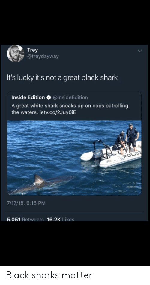 Shark, Black, and Sharks: Trey  @treydayway  It's lucky it's not a great black shark  Inside Edition @InsideEdition  A great white shark sneaks up on cops patrolling  the waters. ietv.co/2JuyOiE  7/17/18, 6:16 PM  5.051 Retweets 16.2K Likes Black sharks matter