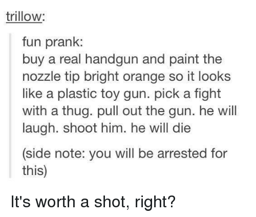 Memes, Prank, and Thug: trillow  fun prank:  buy a real handgun and paint the  nozzle tip bright orange so it looks  like a plastic toy gun. pick a fight  with a thug. pull out the gun. he will  laugh. shoot him. he will die  (side note: you will be arrested for  this) It's worth a shot, right?