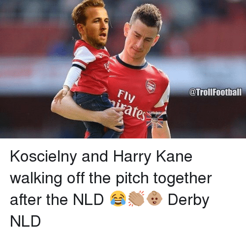 ares: @TrollFootball  ares Koscielny and Harry Kane walking off the pitch together after the NLD 😂👏🏽👶🏽 Derby NLD
