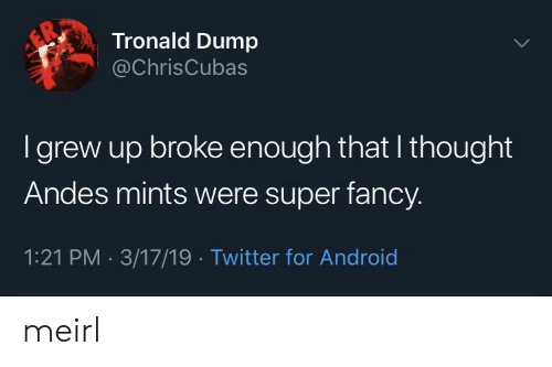 andes: Tronald Dump  @ChrisCubas  I grew up broke enough that I thought  Andes mints were super fancy.  1:21 PM 3/17/19 Twitter for Android meirl