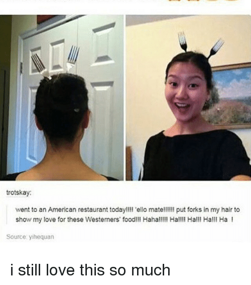 Food, Love, and Memes: trotskay  went to an American restaurant today!!!l 'ello mate!!!!! put forks in my hair to  show my love for these Westemers food!!! Hahal!!l Hall Hall! Halll Ha I  Source yihequan i still love this so much
