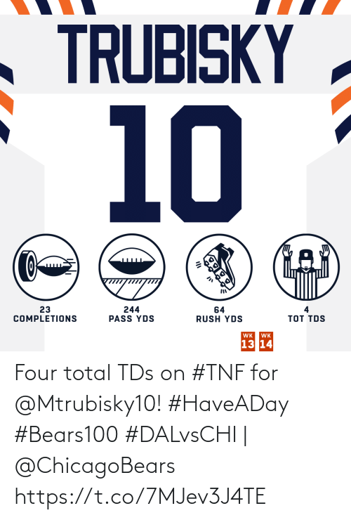 total: TRUBISKY  10  23  COMPLETIONS  244  PASS YDS  64  RUSH YDS  тоT TOS  WK  WK  13 14 Four total TDs on #TNF for @Mtrubisky10! #HaveADay #Bears100  #DALvsCHI | @ChicagoBears https://t.co/7MJev3J4TE