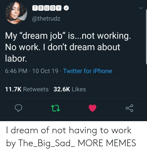 "not working: TRUDY  @thetrudz  My ""dream job"" is...not working.  No work. I don't dream about  labor.  6:46 PM 10 Oct 19 Twitter for iPhone  11.7K Retweets 32.6K Likes I dream of not having to work by The_Big_Sad_ MORE MEMES"