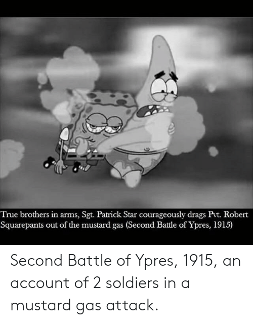 Patrick Star, Soldiers, and True: True brothers in arms, Sgt. Patrick Star courageously drags Pvt. Robert  Squarepants out of the mustard gas (Second Battle of Ypres, 1915) Second Battle of Ypres, 1915, an account of 2 soldiers in a mustard gas attack.