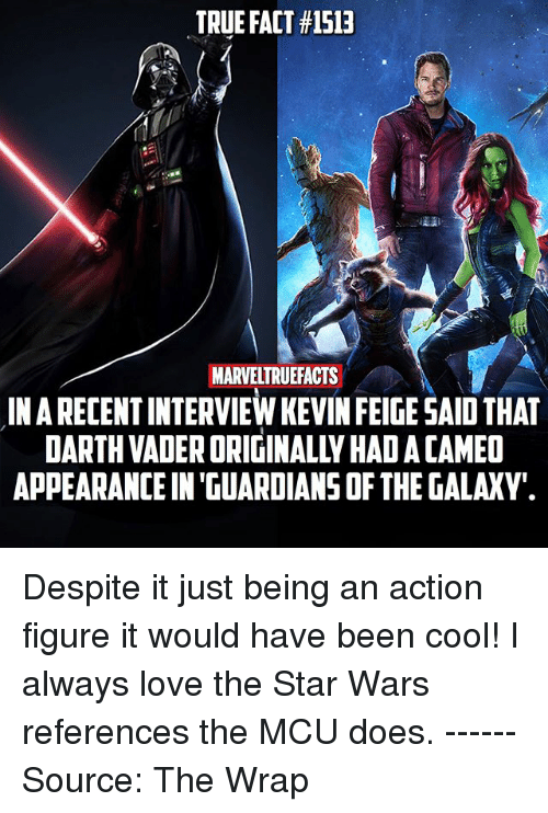 Darth Vader, Love, and Memes: TRUE FACT #1513  MARVELTRUEFACTS  IN ARECENT INTERVIEW KEVIN FEIGE SAID THAT  DARTH VADER ORIGINALLY HAD A CAMED  APPEARANCE IN 'GUARDIANS OF THE GALAXY. Despite it just being an action figure it would have been cool! I always love the Star Wars references the MCU does. ------ Source: The Wrap