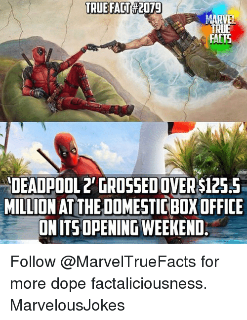 Dope, Facts, and Memes: TRUE FACT  #2079  TRUE  FACTS  DEADPOOL2' GROSSED OVER $125.5  MILLION AT THE DOMESTIC BOX OFFICE  ONITSOPENINGWEEKEND Follow @MarvelTrueFacts for more dope factaliciousness. MarvelousJokes