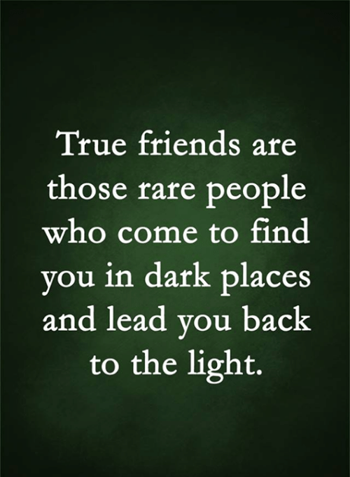 Friends, Memes, and True: True friends are  those rare people  who come to find  you in dark places  and lead you back  to the light.
