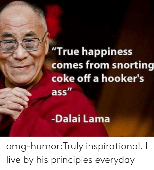 "Snorting: ""True happiness  comes from snorting  coke off a hooker's  ass  Dalai Lama omg-humor:Truly inspirational. I live by his principles everyday"