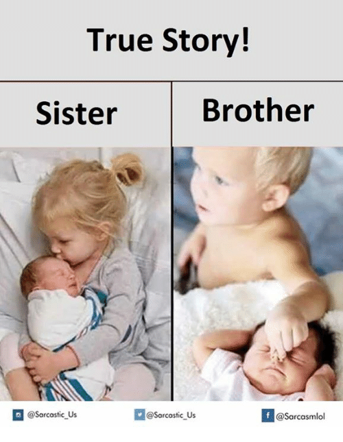 brothers sisters: True Story!  Brother  Sister  @Sarcastic Us  @Sarcastic Us  f  @Sarcasmlol