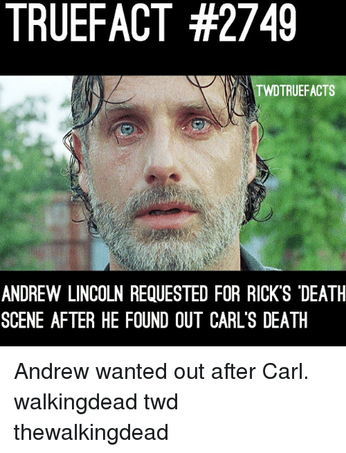"Memes, Death, and Lincoln: TRUEFACT #2749  TWDTRUEFACTS  ANDREW LINCOLN REQUESTED FOR RICK'S ""DEATH  SCENE AFTER HE FOUND OUT CARL'S DEATIH Andrew wanted out after Carl. walkingdead twd thewalkingdead"