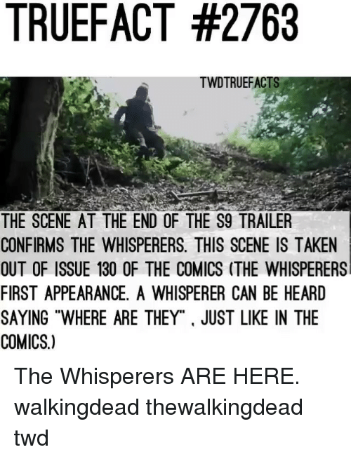 "Memes, Taken, and Comics: TRUEFACT #2763  TWDTRUEFACT  THE SCENE AT THE END OF THE S9 TRAILER  CONFIRMS THE WHISPERERS. THIS SCENE IS TAKEN  OUT OF ISSUE 130 OF THE COMICS (THE WHISPERERS  FIRST APPEARANCE, A WHISPERER CAN BE HEARD  SAYING ""WHERE ARE THEY"". JUST LIKE IN THE  COMICS.) The Whisperers ARE HERE. walkingdead thewalkingdead twd"