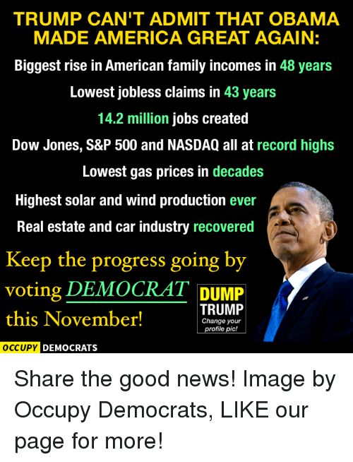 America, Family, and Memes: TRUMP CAN'T ADMIT THAT OBAMA  MADE AMERICA GREAT AGAIN:  Biggest rise in American family incomes in  48 years  Lowest jobless claims in 43 years  14.2 million jobs created  Dow Jones, S&P 500 and NASDAQ all at record highs  Lowest gas prices in decades  Highest solar and wind production ever  Real estate and car industry recovered  Keep the progress going by  voting DEMOCRAT DUMP  TRUMP  this November!  Change your  profile pic!  OCCUPY DEMOCRATS Share the good news!  Image by Occupy Democrats, LIKE our page for more!