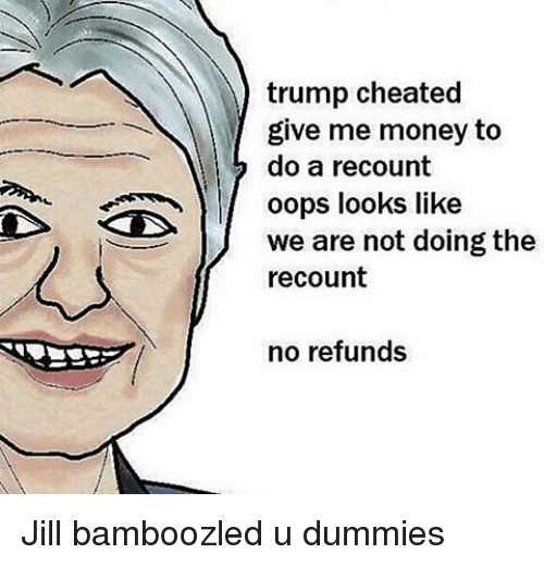 Cheating, Memes, and 🤖: trump cheated  give me money to  do a recount  oops looks like  we are not doing the  recount  no refunds Jill bamboozled u dummies