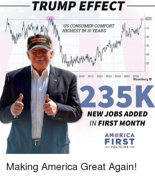Memes, Consumerism, and 🤖: TRUMP EFFECT  50.6  US CONSUMER COMFORT  45  HIGHEST IN 10 YEARS  40  AMERICA  TAGAN  35  30  25  2010 2011 2012 2013 2014 2015 2016  Bloomberg  35K  NEW JOBS ADDED  IN FIRST MONTH  AM ERICA  FIRST  POLICIES Making America Great Again!