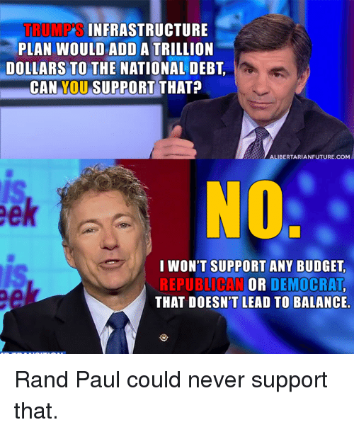 Memes, Rand Paul, and Budget: TRUMP  INFRASTRUCTURE  PLAN WOULD ADD A TRILLION  DOLLARS TO THE NATIONAL DEBT  CAN  YOU  SUPPORT THAT?  LIBERTARIANFUTURE.COM  I WON'T SUPPORT ANY BUDGET,  OR  DEMOCRAT  THAT DOESN'T LEAD TO BALANCE. Rand Paul could never support that.
