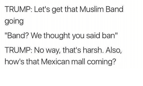 "Dank, Trump, and Harsh: TRUMP: Let's get that Muslim Band  going  ""Band? We thought you said ban""  TRUMP: No way, that's harsh. Also,  how's that Mexican mall coming?"