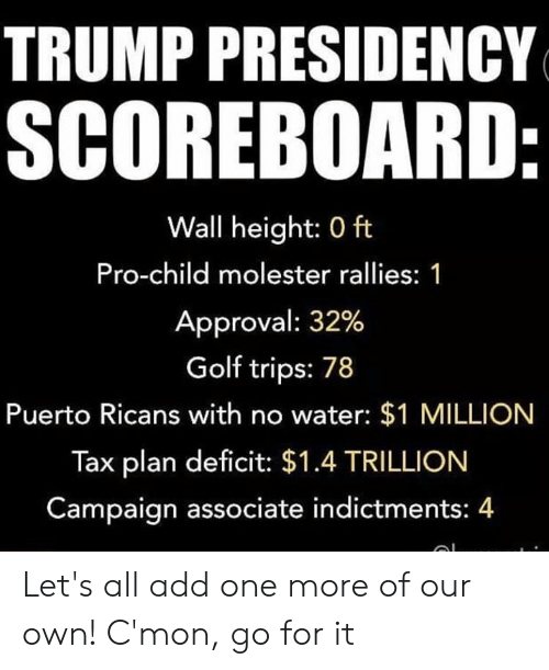 Memes, Golf, and Trump: TRUMP PRESIDENCY  SCOREBOARD  Wall height: 0 ft  Pro-child molester rallies: 1  Approval: 32%  Golf trips: 78  Puerto Ricans with no water: $1 MILLION  Tax plan deficit: $1.4 TRILLION  Campaign associate indictments: 4 Let's all add one more of our own! C'mon, go for it