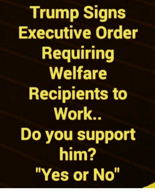 """Memes, Work, and Trump: Trump Signs  Executive Order  Requiring  Welfare  Recipients to  Work..  Do you support  him?  """"Yes or No"""""""