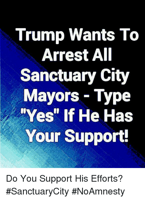 """Memes, Trump, and 🤖: Trump Wants To  Arrest AI  Sanctuary City  Mayors- Type  Yes"""" If He Has  Your Support! Do You Support His Efforts? #SanctuaryCity #NoAmnesty"""