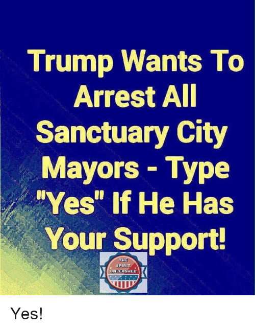 """Memes, Trump, and 🤖: Trump Wants To  Arrest AI  Sanctuary City  Mayors Type  Yes"""" If He Has  Your Support  THE  SPIRI  UNLEASHED Yes!"""