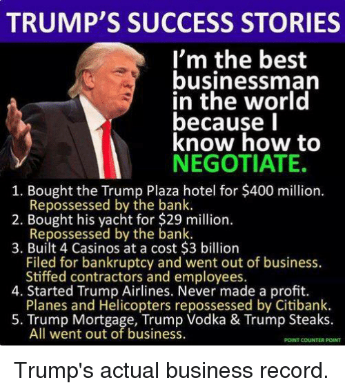 Bank, Bankruptcy, and Best: TRUMP'S SUCCESS STORIES  I'm the best  businessman  in the world  because l  know how to  NEGOTIATE.  1. Bought the Trump Plaza hotel for $400 million.  2. Bought his yacht for $29 million.  3. Built 4 Casinos at a cost $3 billion  Repossessed by the bank.  Repossessed by the bank.  Filed for bankruptcy and went out of business.  Stiffed contractors and employees.  Planes and Helicopters repossessed by Citibank.  All went out of business.  4. Started Trump Airlines. Never made a profit.  5. Trump Mortgage, Trump Vodka & Trump Steaks.  POINT COUNTER POINT Trump's actual business record.