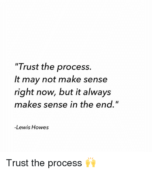"""Trust The Process: """"Trust the process.  It may not make sense  right now, but it always  makes sense in the end.""""  -Lewis Howes Trust the process 🙌"""