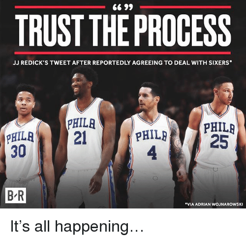 Trust The Process: TRUST THE PROCESS  JJ REDICK'S TWEET AFTER REPORTEDLY AGREEING TO DEAL WITH SIXERS  PHILR  PHIL  4  PHILRPHILR  PHILA2  30  25  B-R  B R  VIA ADRIAN WOJNAROWSKI It's all happening…