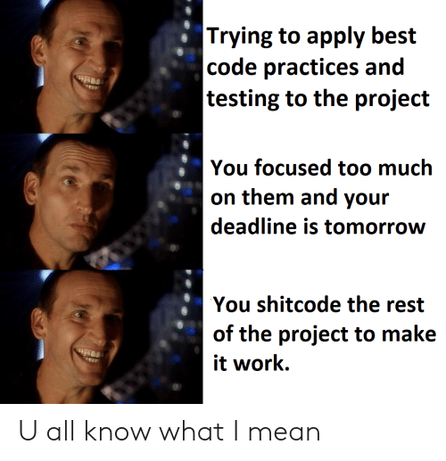 It Work: |Trying to apply best  |code practices and  |testing to the project  You focused too much  on them and your  deadline is tomorrow  You shitcode the rest  of the project to make  it work U all know what I mean
