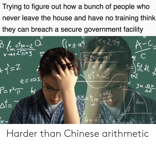 Reddit, Chinese, and House: Trying to figure out how a bunch of people who  never leave the house and have no training think  they can breach a secure government facility  K=2,79  A-C  +0  +-2  e=cos  AZ  AX+2  44-4  at=  Sinx  Cox a  0フ Harder than Chinese arithmetic
