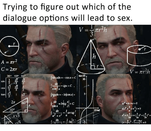 Sex, Lead, and Fred: Trying to figure out which of the  dialogue options will lead to sex.  C=27tr  30° 45 60°  10  COS X  tan  2x60  ax  +bx + c = 0  sin χ  30°  fred  xV3  In