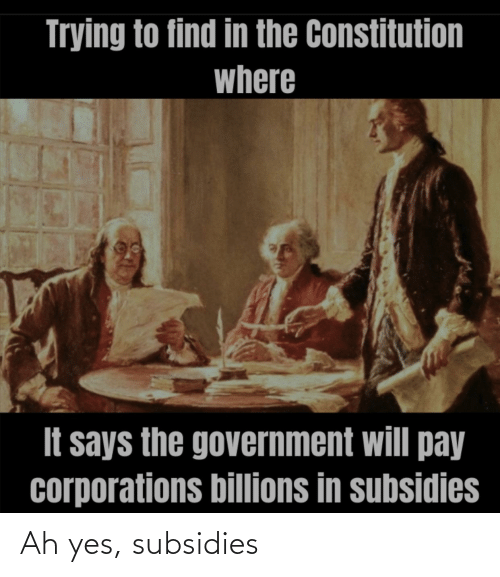 Billions: Trying to find in the Constitution  where  It says the government will pay  corporations billions in subsidies Ah yes, subsidies