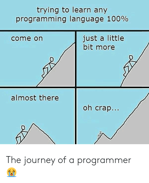 Just A Little: trying to learn any  programming language 100%  just a little  bit more  come on  almost there  oh crap... The journey of a programmer 😭