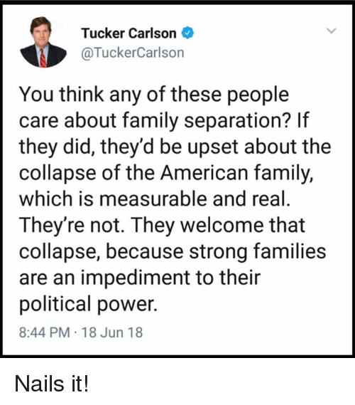 Tucker Carlson: Tucker Carlson  @TuckerCarlson  You think any of these people  care about family separation? If  they did, they'd be upset about the  collapse of the American family,  which is measurable and real  They're not. They welcome that  collapse, because strong families  are an impediment to their  political power.  8:44 PM 18 Jun 18 Nails it!