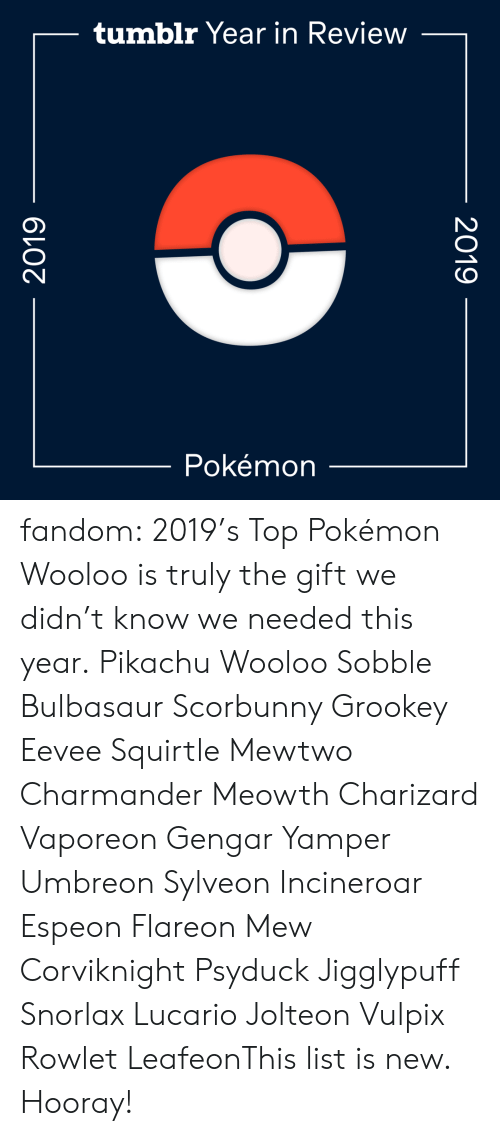 Search: tumblr Year in Review  Pokémon  2019  2019 fandom:  2019's Top Pokémon  Wooloo is truly the gift we didn't know we needed this year.  Pikachu  Wooloo  Sobble  Bulbasaur  Scorbunny  Grookey  Eevee  Squirtle  Mewtwo  Charmander  Meowth  Charizard  Vaporeon  Gengar  Yamper  Umbreon  Sylveon  Incineroar  Espeon  Flareon  Mew  Corviknight  Psyduck  Jigglypuff  Snorlax  Lucario  Jolteon  Vulpix  Rowlet  LeafeonThis list is new. Hooray!