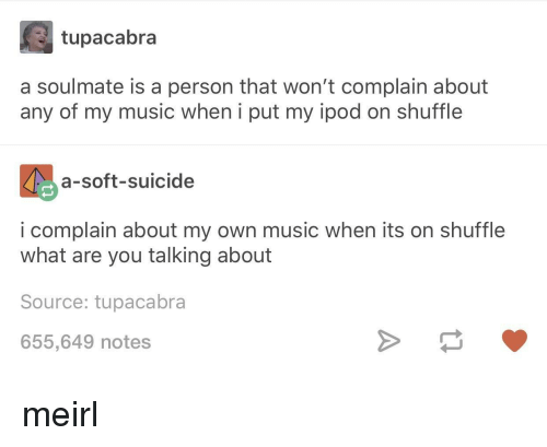 what-are-you-talking-about: tupacabra  a soulmate is a person that won't complain about  any of my music when i put my ipod on shuffle  a-soft-suicide  i complain about my own music when its on shuffle  what are you talking about  Source: tupacabra  655,649 notes meirl