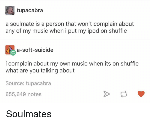 Memes, Music, and Ipod: tupacabra  a soulmate is a person that won't complain about  any of my music when i put my ipod on shuffle  a-soft-suicide  i complain about my own music when its on shuffle  what are you talking about  Source: tupacabra  655,649 notes Soulmates