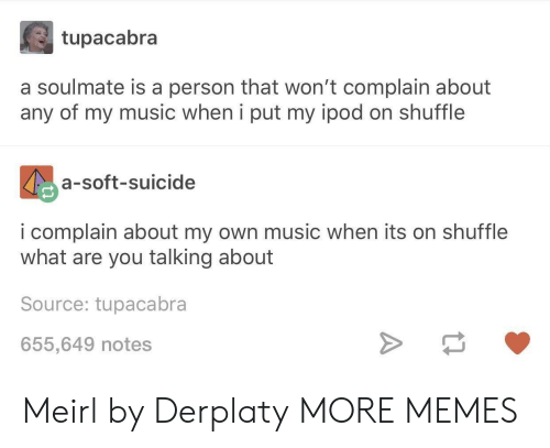 Dank, Memes, and Music: tupacabra  a soulmate is a person that won't complain about  any of my music when i put my ipod on shuffle  a-soft-suicide  i complain about my own music when its on shuffle  what are you talking about  Source: tupacabra  655,649 notes Meirl by Derplaty MORE MEMES