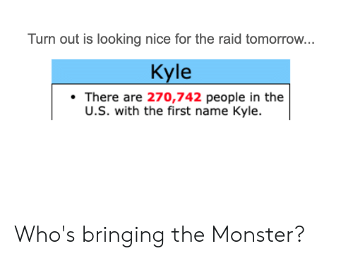 Monster, Tomorrow, and Dank Memes: Turn out is looking nice for the raid tomorrow...  Kyle  There are 270,742 people in the  U.S. with the first name Kyle Who's bringing the Monster?