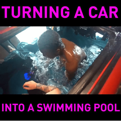 Funny, Pool, and Swimming: TURNING A CAR  INTO A SWIMMING POOL