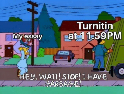 Turnitin, Stop, and Hey: Turnitin  pat 1 1.59PM  My essay  HEY, WAIT! STOP! I HAVE  ZaGARBAGE  H