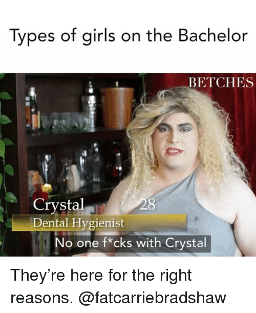 The Bachelor: Tvpes of airls on the Bachelor  ETCHES  Crystal  Dental Hvgienist  o one f*cks with Crystal They're here for the right reasons. @fatcarriebradshaw