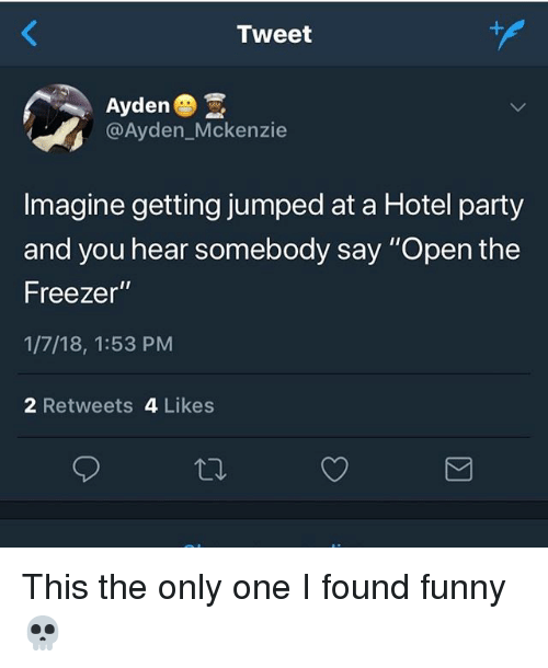 "Funny, Memes, and Party: Tweet  Ayden  @Ayden_Mckenzie  Imagine getting jumped at a Hotel party  and you hear somebody say ""Open the  Freezer""  1/7/18, 1:53 PM  2 Retweets 4 Likes This the only one I found funny 💀"