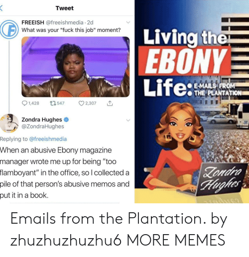 """Ebony: Tweet  FREEISH @freeishmedia 2d  Living the  EBONY  Life:  What was your """"fuck this job"""" moment?  E-MAILS FROM  THE PLANTATION  1,428  L1547  2,307  Zondra Hughes  @ZondraHughes  Replying to @freeishmedia  When an abusive Ebony magazine  manager wrote me up for being """"too  flamboyant"""" in the office, so I collected a  Zondra  Hughes  pile of that person's abusive memos and  put it in a book. Emails from the Plantation. by zhuzhuzhuzhu6 MORE MEMES"""