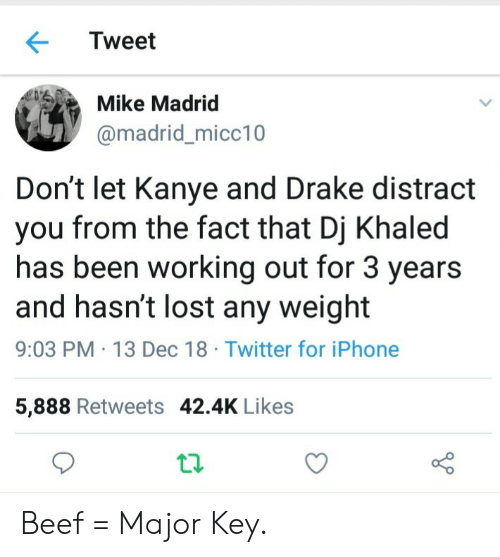 major key: Tweet  Mike Madrid  @madrid_micc10  Don't let Kanye and Drake distract  you from the fact that Dj Khaled  has been working out for 3 years  and hasn't lost any weight  9:03 PM 13 Dec 18 Twitter for iPhone  5,888 Retweets 42.4K Likes Beef = Major Key.