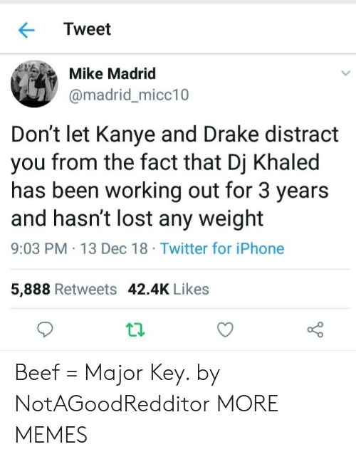 DJ Khaled: Tweet  Mike Madrid  @madrid_micc10  Don't let Kanye and Drake distract  you from the fact that Dj Khaled  has been working out for 3 years  and hasn't lost any weight  9:03 PM 13 Dec 18 Twitter for iPhone  5,888 Retweets 42.4K Likes Beef = Major Key. by NotAGoodRedditor MORE MEMES