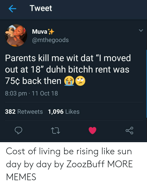 """day by day: Tweet  Muva  @mthegoods  Parents kill me wit dat """"I moved  out at 18"""" duhh bitchh rent was  75¢ back then  8:03 pm 11 Oct 18  382 Retweets 1,096 Likes Cost of living be rising like sun day by day by ZoozBuff MORE MEMES"""