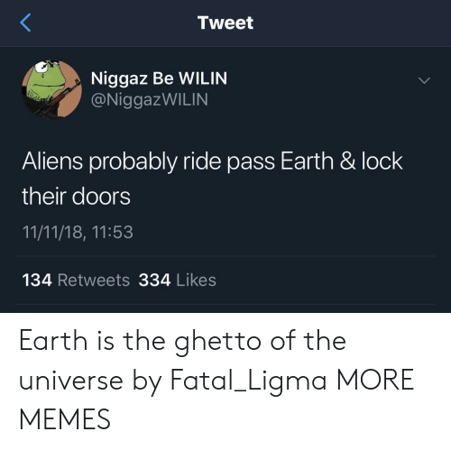 Ridings: Tweet  Niggaz Be WILIN  @NiggazWILIN  Aliens probably ride pass Earth & lock  their doors  11/11/18, 11:53  134 Retweets 334 Likes Earth is the ghetto of the universe by Fatal_Ligma MORE MEMES