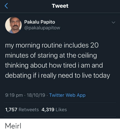 Twitter, Live, and Today: Tweet  Pakalu Papito  @pakalupapitow  my morning routine includes 20  minutes of staring at the ceiling  thinking about how tired i am and  debating if i really need to live today  9:19 pm 18/10/19 Twitter Web App  1,757 Retweets 4,319 Likes Meirl