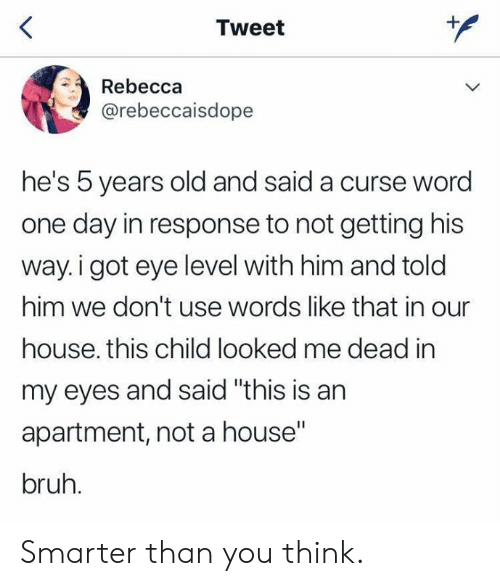 """In Response To: Tweet  Rebecca  @rebeccaisdope  he's 5 years old and said a curse word  one day in response to not getting his  way.i got eye level with him and told  him we don't use words like that in our  house. this child looked me dead in  my eyes and said """"this is an  apartment, not a house""""  bruh. Smarter than you think."""