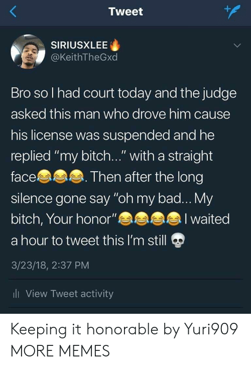 "Bad, Bitch, and Dank: Tweet  SIRIUSXLEE  @KeithTheGxd  Bro so l had court today and the judge  asked this man who drove him cause  his license was suspended and he  replied ""my bitch..."" with a straight  face  silence gone say ""oh my bad... My  bitch, Your honor""  a hour to tweet this I'm still  3/23/18, 2:37 PM  li View Tweet activity  Then after the long  I waited Keeping it honorable by Yuri909 MORE MEMES"